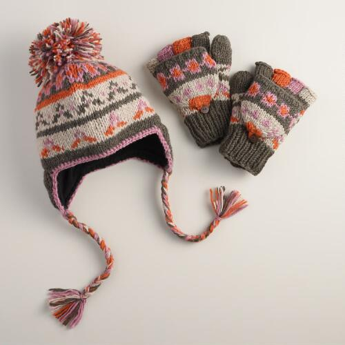 Pink and Orange Fair Isle Glittens or Trapper Hat