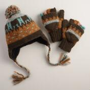 Turquoise Fair Isle Wool Glittens or Trapper Hat