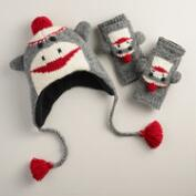 Wool Sock Monkey Gloves or Hat