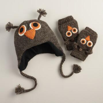 Wool Brown Owl Gloves or Hat