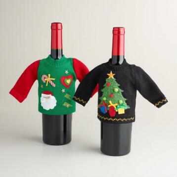 Ugly Christmas Sweater Wine Bottle Outfits, Set of 2