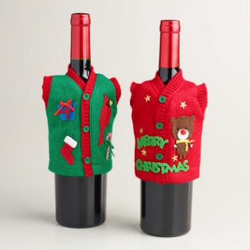 Ugly Christmas Vest Wine Bottle Outfits, Set of 2