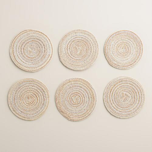 Ivory and Metallic Braided Coasters, Set of 6