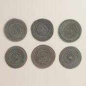 Gray and Metallic Braided Coasters, Set of 6