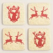 Stag Holiday Coasters, Set of 4