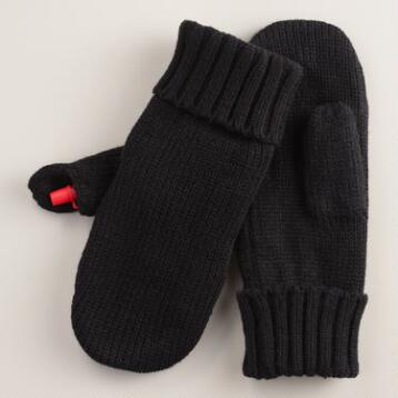 Black Mittens with Concealed Flask