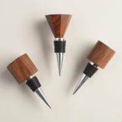 Geometric Wood Bottle Stoppers, Set of 3