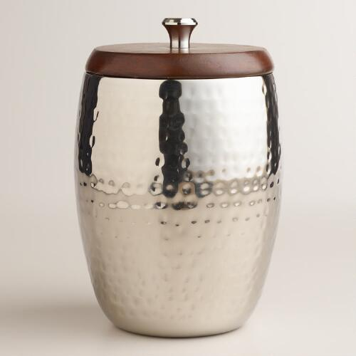 Hammered Silver with Wood Top Ice Bucket