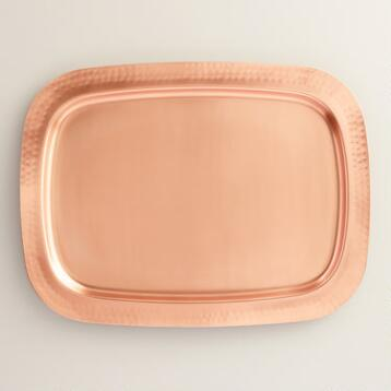 Copper Hammered Serving Tray