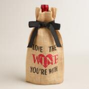 Love Jute Wine Bags, Set of 2