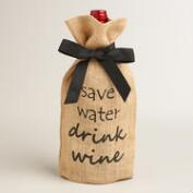 Save Water Jute Wine Bags, Set of 2