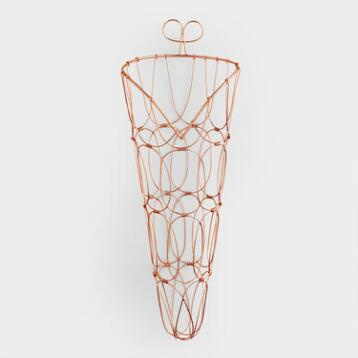 Copper Woven Iron Cone Hanging Basket