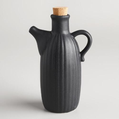 Matte Black Ribbed Ceramic Oil and Soy Sauce Bottle