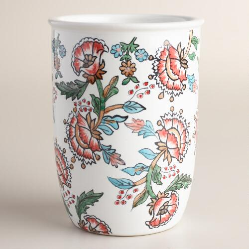 Tessie Floral Hand Painted Ceramic Utensil Holder