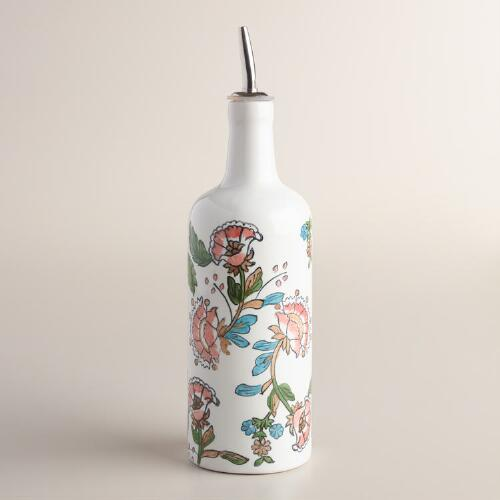 Tessie Floral Hand Painted Ceramic Oil Bottle
