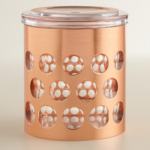 Small Rose Gold Push Lid Storage Canister