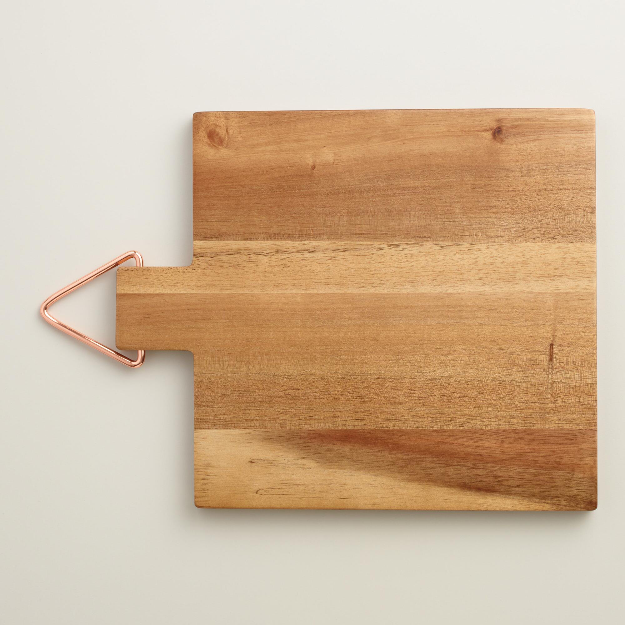 acacia wood cutting board with copper hanger world market. Black Bedroom Furniture Sets. Home Design Ideas