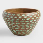 Ocean Wave Wood Salad Serving Bowl