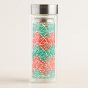 Red Butterfly Geo Glass Tea Infuser Carafe