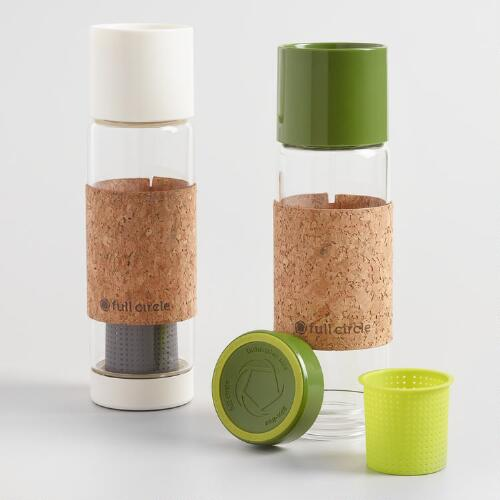 Glass Tea Infuser Travel Mugs with Cork Sleeves Set of 2