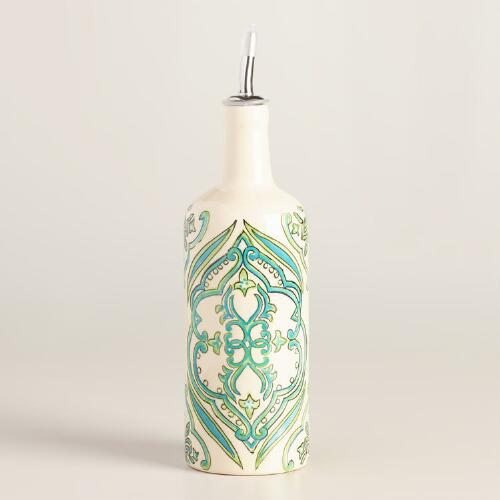 Pacifica Hand Painted Ceramic Oil Bottle