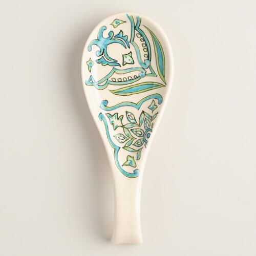 Pacifica Hand Painted Ceramic Spoon Rest