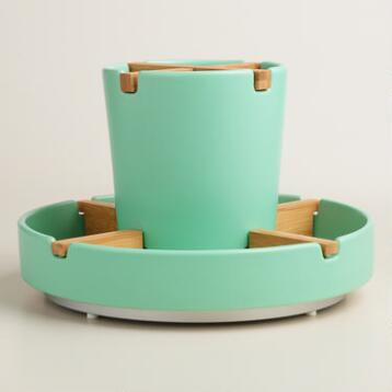 Aqua Spinning Utensil Caddy
