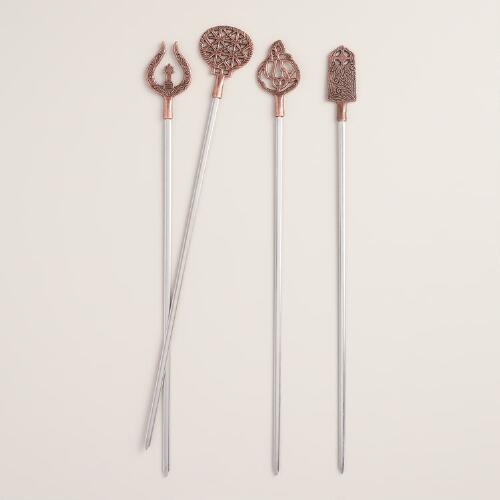 Vintage Style Turkish Metal Skewers 4 Pack