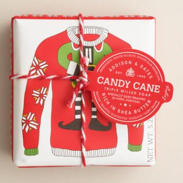 A&G Candy Cane Ugly Sweater Bar Soaps, Set of 2