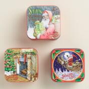 Vintage-Style Holiday Soap Tins, Set of 3