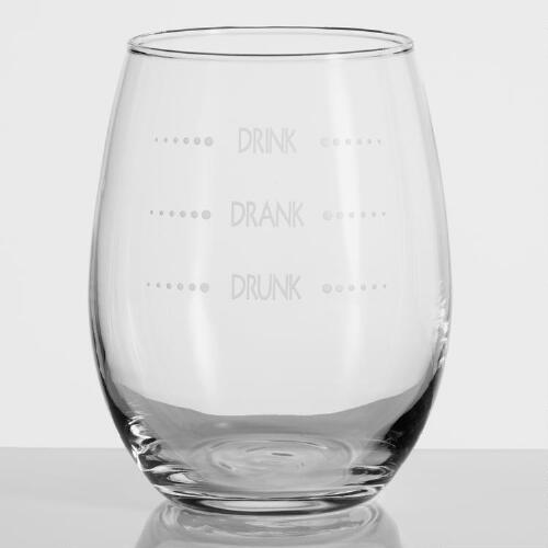Drink Drank Drunk Stemless Wine Glasses, Set of 4