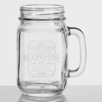 Moonshine Etched Mason Jar Glasses, Set of 4