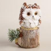 Natural Fiber and Pinecone Owl on Stump