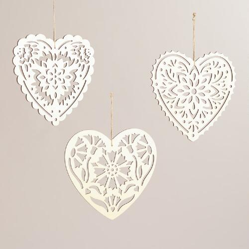 Laser-Cut Wood Hearts, Set of 3