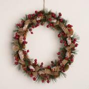 Pinecone, Berry and Burlap Wreath