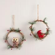Natural Fiber Mini Wreaths with Birds, Set of 2