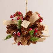Pinecone, Berry and Burlap Ball Decor