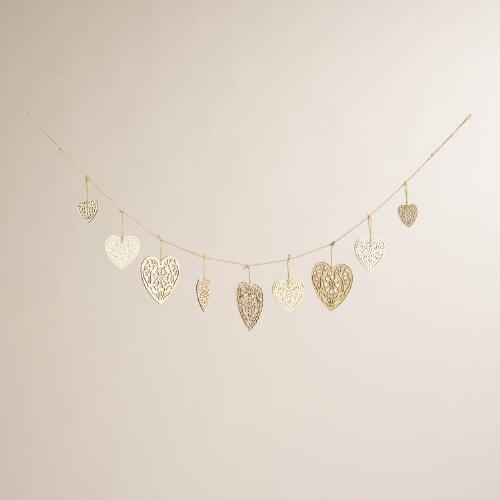 Laser-Cut Wood Heart Garland