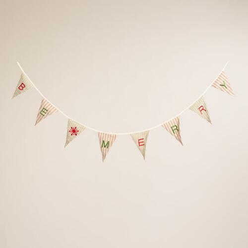 "Pinstriped Fabric ""Be Merry"" Flag Garland"