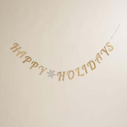 "Glittered Wood ""Happy Holidays"" Garland"