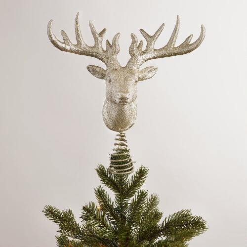 Glittered Stag Head Tree Topper