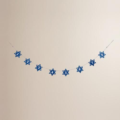 Glittered Wood Hanukkah Countdown Garland
