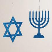 Blue Glittered Wood Hanukkah Decor, Set of 2