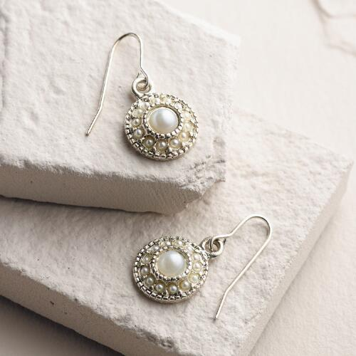 Silver and Pearl Drop Earrings