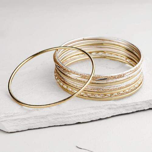 Tonal Gold and Lavender Bangle Bracelets, Set of 10