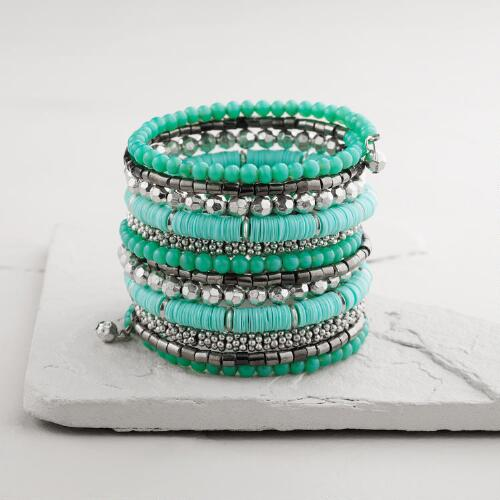 Silver, Turquoise and Hematite Coil Bracelet