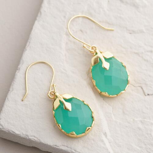Gold Aqua Teardrop Earrings