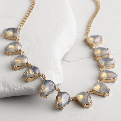 Gold Icy Faceted Stone Statement Necklace