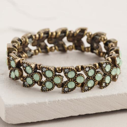Gold and Mint Leaf Stretch Bracelet