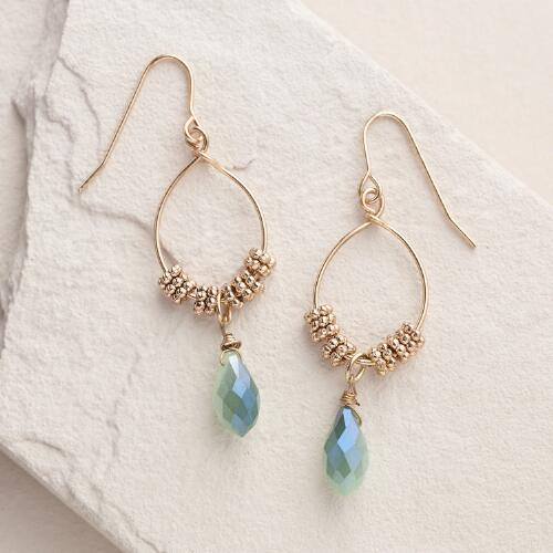 Gold Faceted Drop Hoop Dangle Earrings